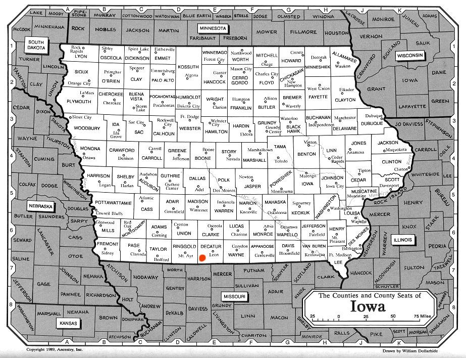 Iowa County Seats Map Images